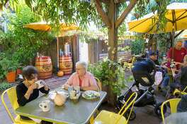 Donna Day, left, and Nancy Church enjoy lunch at the Sunflower Caffe in Sonoma, Calif. on Wednesday, Oct. 19, 2016. The Sunflower Caffe serves breakfast all day.