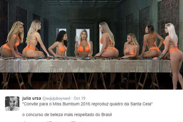 "Miss Bumbum beauty pageant has sparked controversy following the posed recreation of iconic religious painting ""The Last Supper."" 