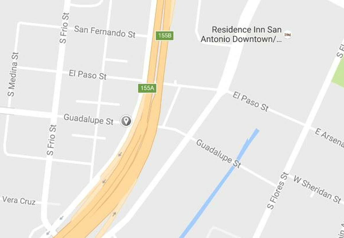 The intersection of Guadalupe Street and Interstate 35, where police found a motorcyclist dead in a parking lot on Oct. 22, 2016.
