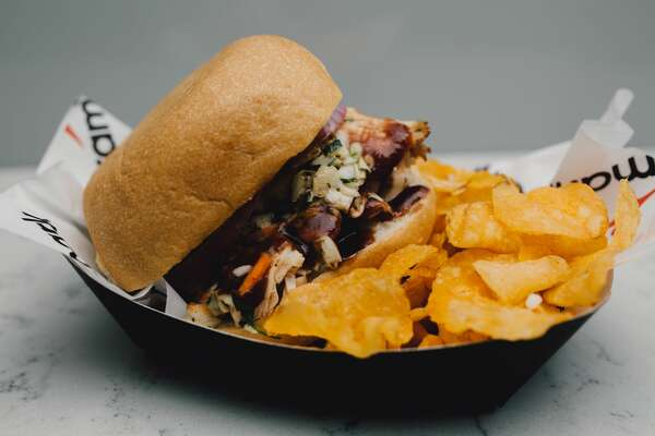 """BBQ Turkey Sandwich : $9    Where you can find it : SA BBQ, Plaza level, section 121   """"Turkey topped with creole coleslaw, pickles and red onions on a Texas sourdough roll."""""""