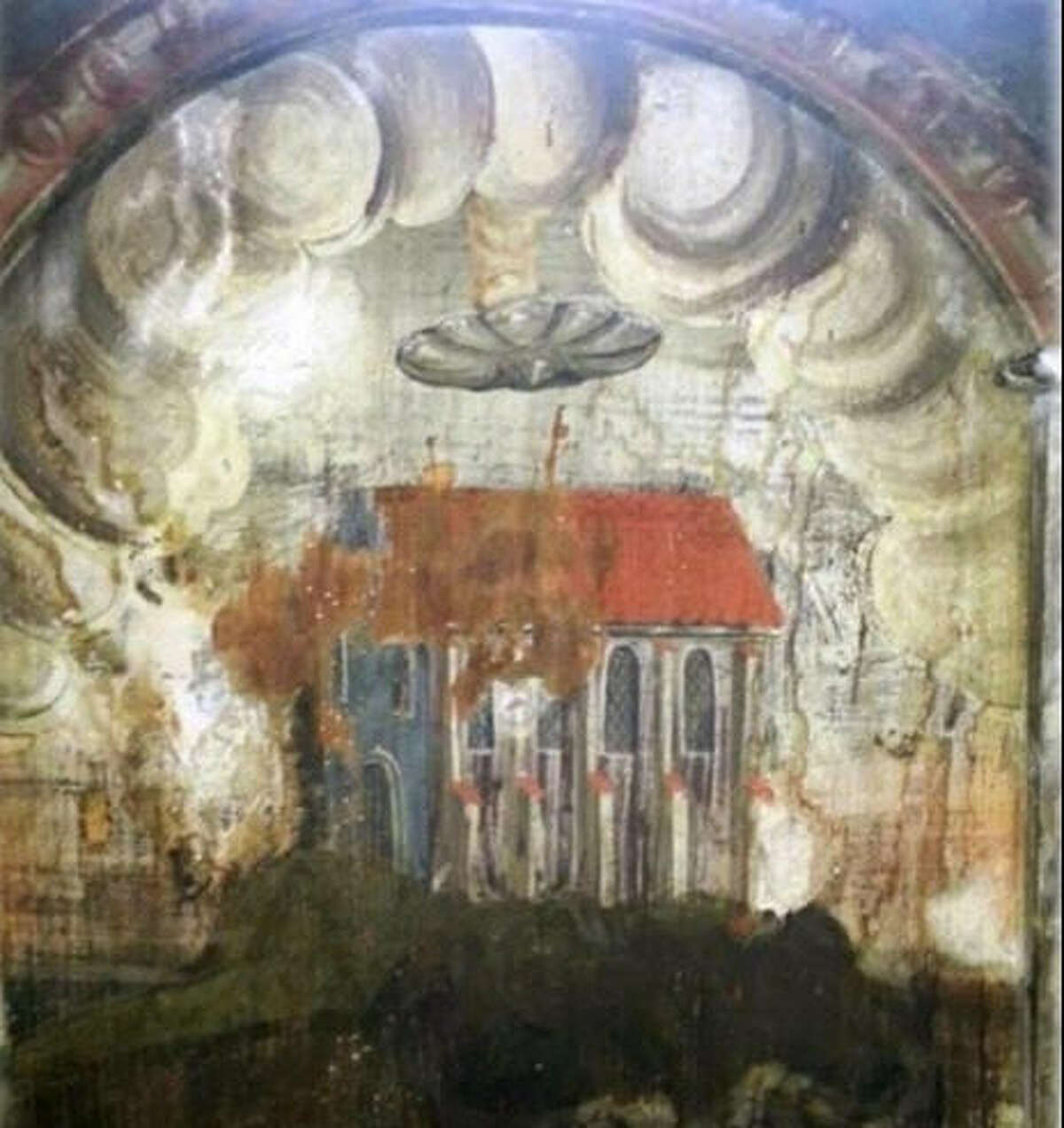 This painting in a Transylvania monastery appears to show a church with a large floating disc over it. A colum,n of smoke is rising from the disc. (Photo via UFO Sightings Daily)