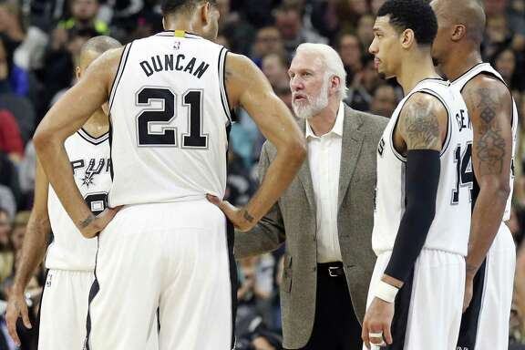 Gregg Popovich, talking to players in a game last November, has a new- look squad this season.