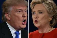 """(FILES) This combination of file photos taken on September 26, 2016 shows Republican presidential nominee Donald Trump and Democratic presidential nominee Hillary Clinton facing off during the first presidential debate at Hofstra University in Hempstead, New York. On the campaign trail, they are studies in contrast. Donald Trump, the Republican nominee, peppers his freewheeling speeches with buzzwords that pack a punch; Hillary Clinton, the Democrat, takes the unexciting high road in her more rehearsed stump speeches. Linguists say each candidate's word choices are part of their larger brand strategies. Trump's """"Make America Great Again"""" is an affirmative slogan, which linguistics professor Linda Coleman of the University of Maryland said causes his audiences to consider it """"a complete thought."""" """"The rhythm -- you can almost march to that,"""" she told AFP October 24, 2016. With Clinton's """"Stronger Together,"""" Coleman said, """"you have to ask the question 'what's stronger together?'"""" """"You have to supply the 'we'"""" implied by the expression.  / AFP PHOTO / Paul J. RichardsPAUL J. RICHARDS/AFP/Getty Images"""