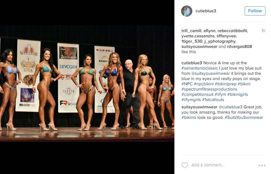 """Novice A line up at the #sanantonioclassic I just love my blue suit from @suitsyouswimwear it brings out the blue in my eyes and really pops on stage,"" @cutieblue3.  Photo: Instagram.com"