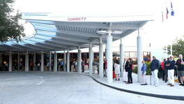 People wait in line to vote on the first day of early voting, at the Metropolitan Multi-Services Center on West Gray Street, Monday, Oct. 24, 2016, in Houston.