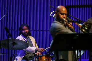 Obed Calvaire (left) and Robin Eubanks perform with the SF Jazz Collective at the exclusive benefit concert for the late NEA Jazz Master Bobby Hutcherson on Sunday, Oct 24, 2016 in San Francisco, Calif.