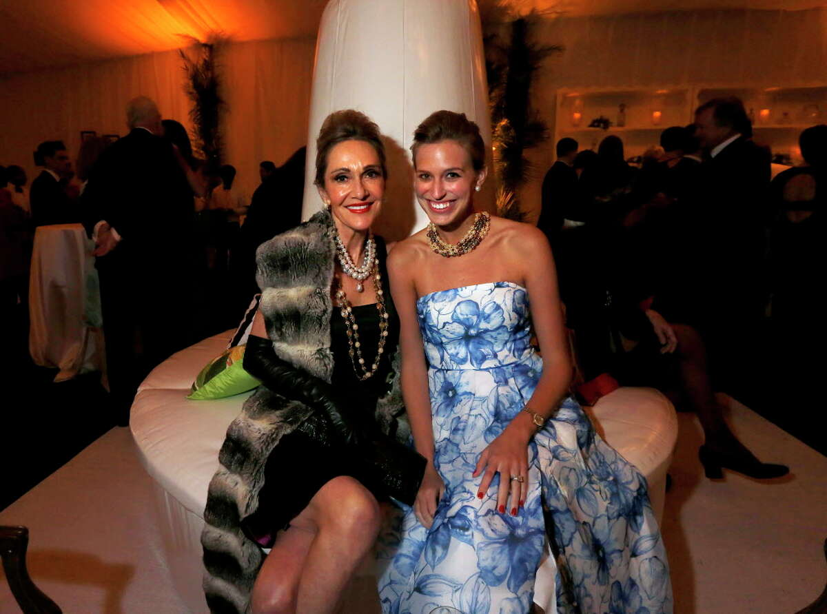 Jana Arnoldy and guest from the Jones Hall's 50th anniversary gala on Saturday, Oct. 22, 2016. (Annie Mulligan / Freelance)