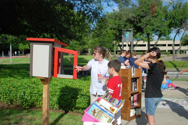 The Brays Bayou Connector Trail portion of the Westchase District Trail System features a library that allows residents to borrow and submit books, exercise stations, and the chance to see area outdoor art along with flora and fauna.