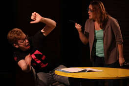 """""""Table Manners in Tribeca"""" by William Fowkes looks at how to handle an ex-boyfriend who tries to come between you and your date. In a scene from the play are Sam Denomy and Whitney Zangarine."""