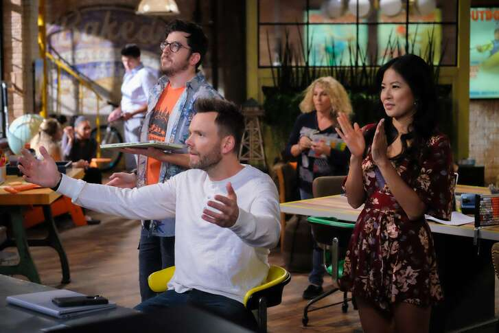 "Christopher Mintz-Plasse as Clark, Joel McHale as Jack and Christine Ko as Emma in ""The Great Indoors."""