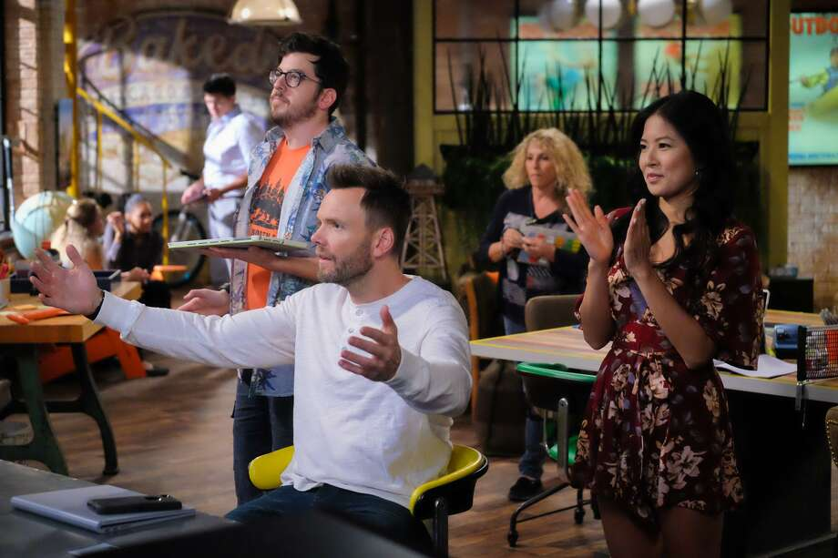 """Christopher Mintz-Plasse as Clark, Joel McHale as Jack and Christine Ko as Emma in """"The Great Indoors."""" Photo: Darren Michaels / Darren Michaels / CBS / ©2016 CBS Broadcasting, Inc. All Rights Reserved"""