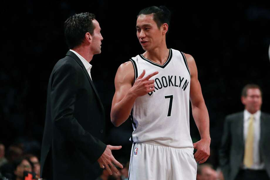 NEW YORK, NY - OCTOBER 20:  Jeremy Lin #7 of the Brooklyn Nets talks with Kenny Atkinson of the Brooklyn Nets against the New York Knicks during the first half of their preseason game at Barclays Center on October 20, 2016 in New York City. NOTE TO USER: User expressly acknowledges and agrees that, by downloading and or using this photograph, User is consenting to the terms and conditions of the Getty Images License Agreement. Photo: Michael Reaves, Getty Images / 2016 Getty Images