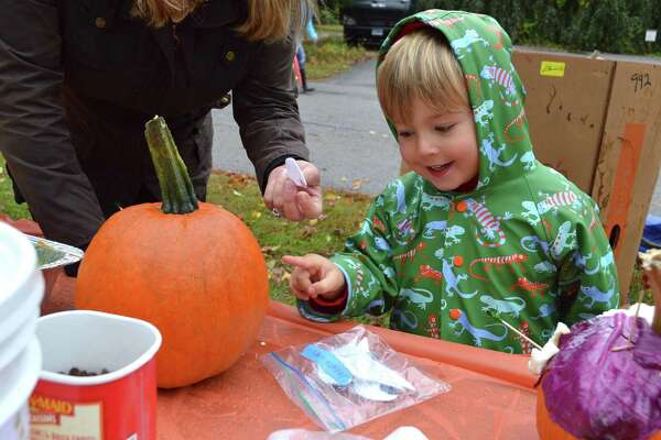 Merritt Hopkins, 4, of New Canaan, decides on the best way to decorate his pumpkin at the 47th annual New Canaan Nature Center Fall Fair, Saturday, Oct. 22, 2016, in New Canaan, Conn.