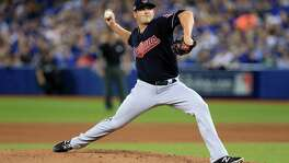 Jeff Manship of the Cleveland Indians throws a pitch in the third inning against the Toronto Blue Jays during Game 3 of the American League Championship Series at Rogers Centre on Oct. 17, 2016 in Toronto.