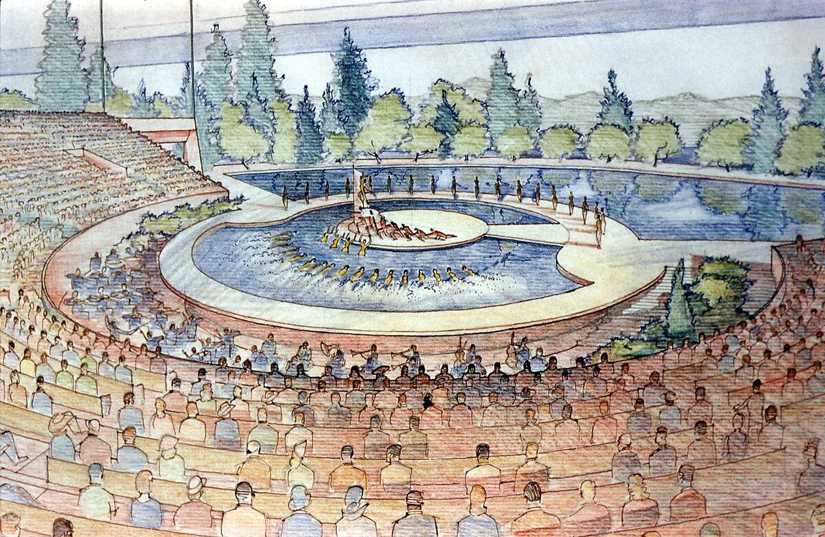 Frank Lloyd Wright's original design for Marin County Civic Center, presented in 1958, included a number of phases that either were not built, or were not built as planned. This is an image of the proposed lakeside amphitheater.