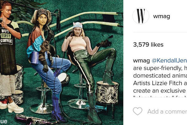 "Gigi Hadid and Kendall Jenner were morphed into ""humanoid zoo"" created by artists Lizzie Fitch and Ryan Trecartin for the 10th anniversary art issue of W magazine. 