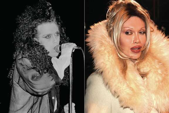 Pete Burns of the '80s rock band Dead or Alive, as seen in the early 1980s, and again in the 2010s.