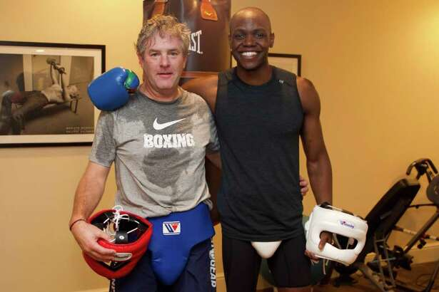 Workout buddies and co-owners of a new Greenwich boxing gym Belly and Body Jim Perry (left) and Jonathan Edmond (right).