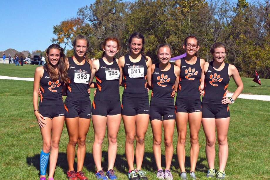 The Edwardsville girls' cross country team poses for a photo on Saturday after winning the Quincy Regional.