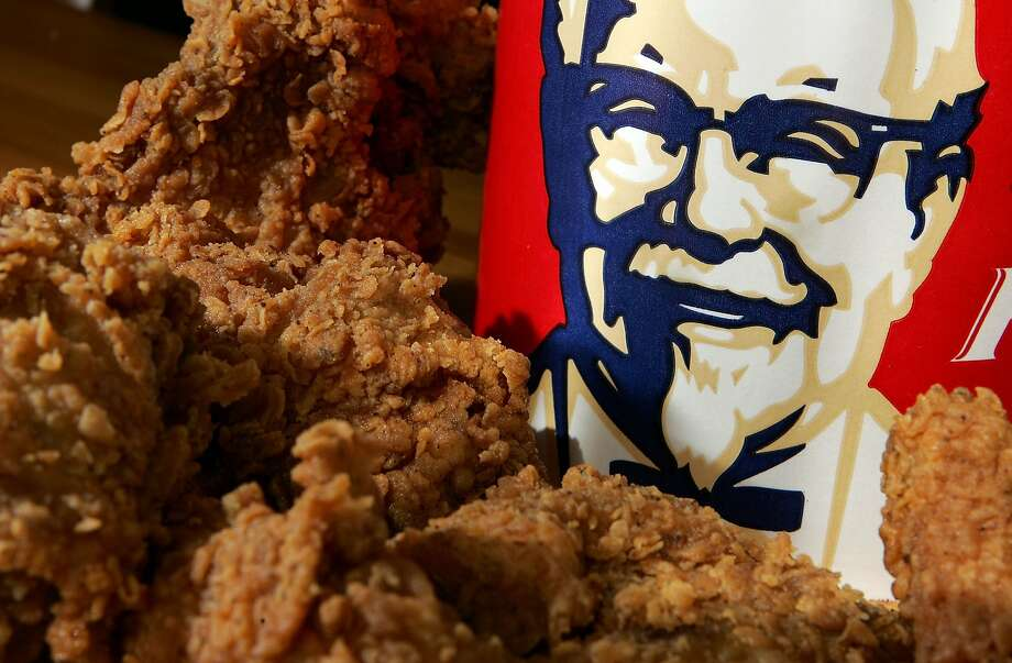 A bucket of KFC Extra Crispy fried chicken is displayed. Photo: Justin Sullivan, Getty Images