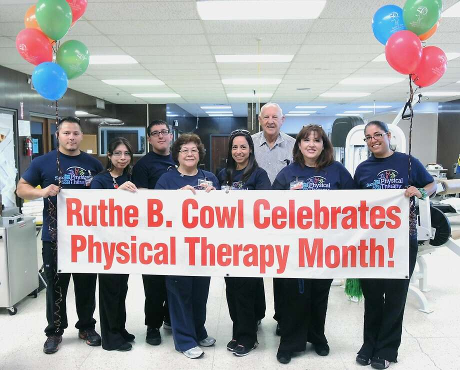 Ruthe B. Cowl Rehabilitation Center Physical Therapy staff, from left, Manuel Ceniceros, Maribel Cruz, Chris Treviño, Gloria Cisneros, Lizzy Schunior, JD Wendeborn, Delia Vásquez and Raquel Méndez were recognized Tuesday morning as part of the center's Physical Theraphy Month celebration. Center administrators and other center personnel participated in the celebration. (Photo by Cuate Santos/LMT)