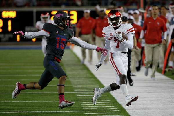 SMU defensive back Jordan Wyatt (15) forces Houston wide receiver Marquez Stevenson (7)  out of bounds during the first half of an NCAA college football game, Saturday, Oct. 22, 2016, in Dallas. (AP Photo/Ron Jenkins)