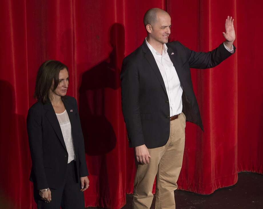 Evan McMullin of Utah, an independent candidate for president of the United States, with running mate Mindy Finn of Texas, thanks an audience of about 600 people at Boise High School Saturday Oct. 22, 2016, in Boise. (Darin Oswald/Idaho Statesman via AP) Photo: Darin Oswald, Associated Press