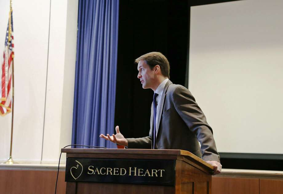 Congressman Jim Himes addressed Sacred Heart Greenwich middle and high schoolers on Monday. Photo: Contributed