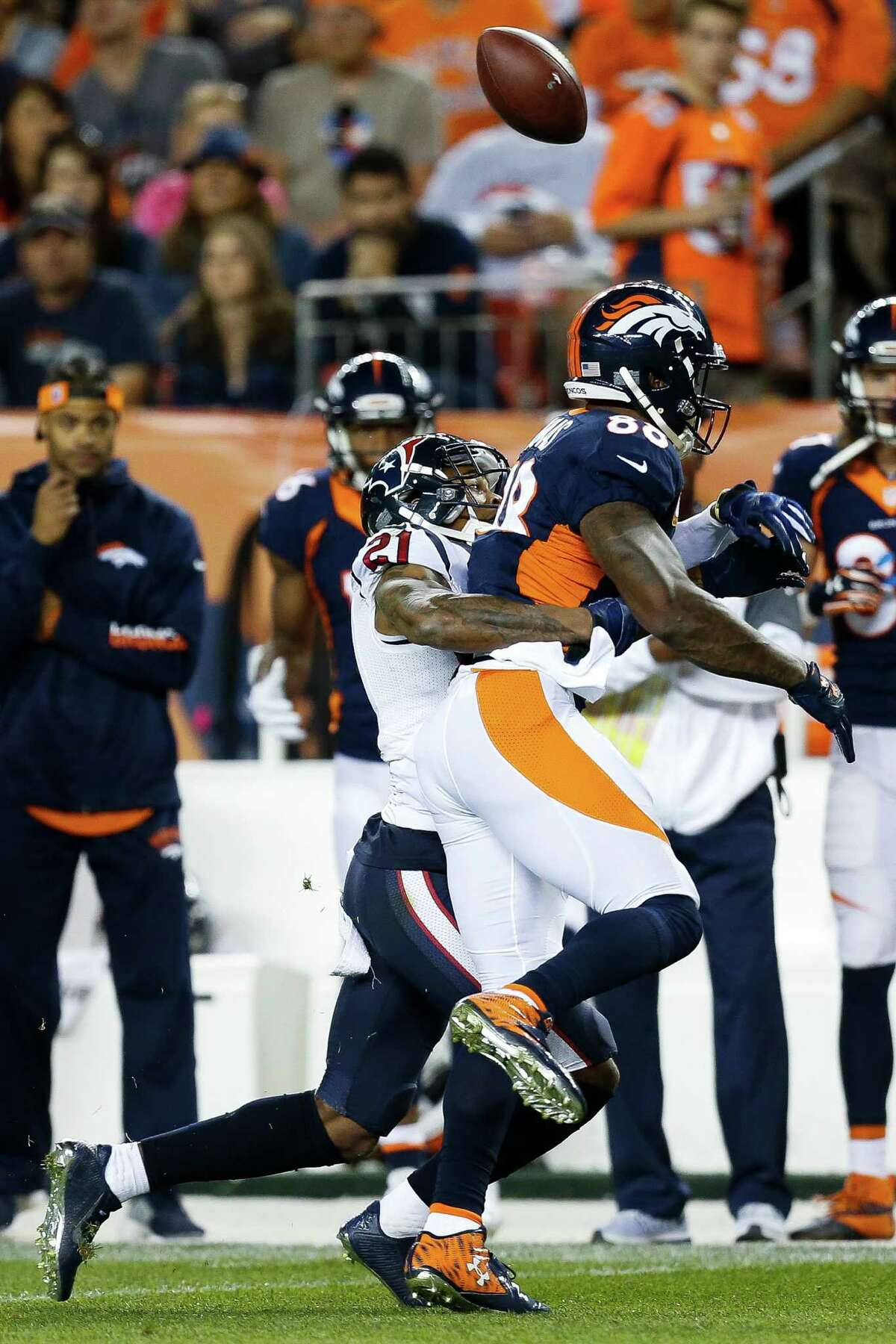 Five up 1. Cornerback A.J. Bouye A pending unrestricted free agent, Bouye shined for the Texans. He had a career-high 11 tackles and two pass deflections. The Broncos tried to test him out, but he was up to the task.