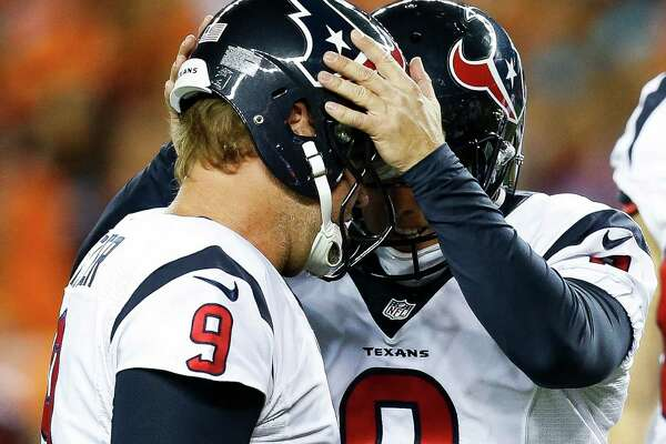 Houston Texans kicker Nick Novak (8) and punter Shane Lechler (9) celebrate after Novak scored the second field goal of the game during the first quarter of an NFL football game at Sports Authority Field at Mile High on Monday, Oct. 24, 2016, in Denver.