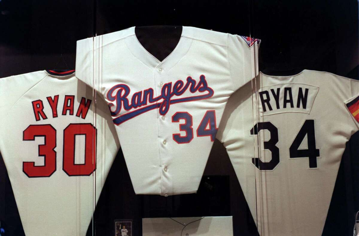 Group of Nolan Ryan's game jerseys from the Mets, Rangers and Astros on display in the Nolan Ryan museum in Alvin, Texas. (Kerwin Plevka/Chronicle) HOUCHRON CAPTION (07/22/1999): Among the items on display at the Nolan Ryan Exhibit are his uniforms with the Mets, Rangers and Astros.