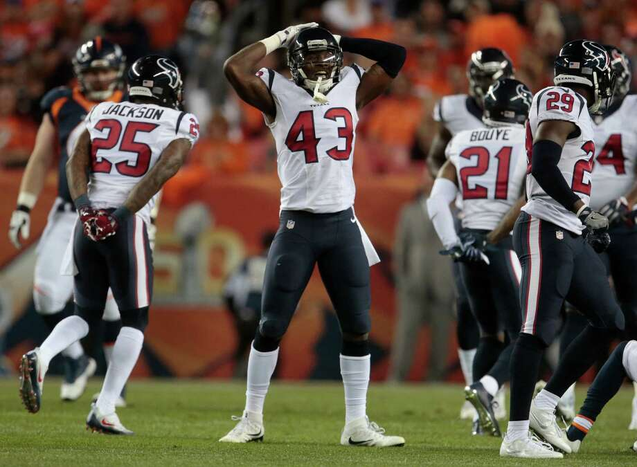Houston Texans defensive back Corey Moore (43) reacts to a dropped ball during the first half of an NFL football game against the Denver Broncos, Monday, Oct. 24, 2016, in Denver. (AP Photo/Joe Mahoney) Photo: Joe Mahoney, Associated Press / FR170458 AP