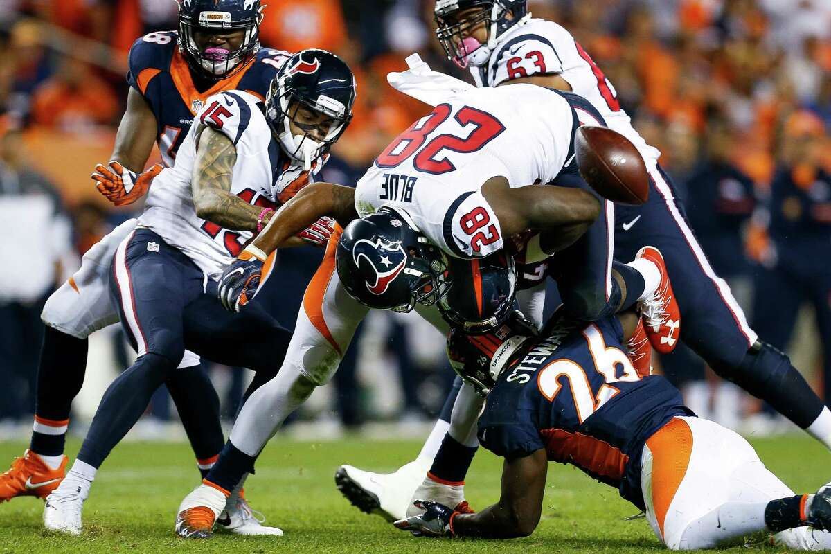 Running back Lamar Miller and Alfred Blue split time, and both ran well, combining for 124 yards on 22 carries. Blue's fumble at the Denver 28 turned a 14-9 game into a 21-9 Broncos' lead. Grade: C