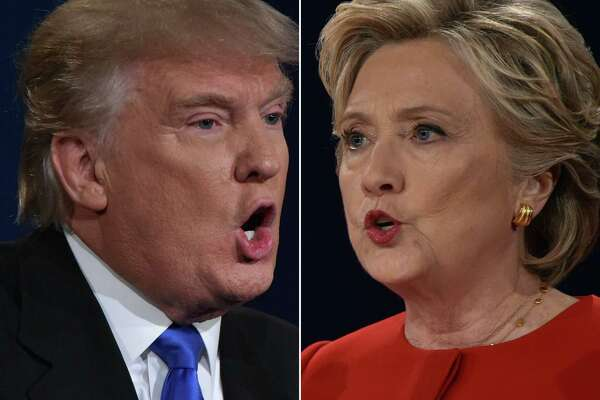 (FILES) This combination of file photos taken on September 26, 2016 shows Republican presidential nominee Donald Trump and Democratic presidential nominee Hillary Clinton facing off during the first presidential debate at Hofstra University in Hempstead, New York. A study released this month by the American Psychological Association shows that more than half of Americans see the presidential election as a significant source of stress.