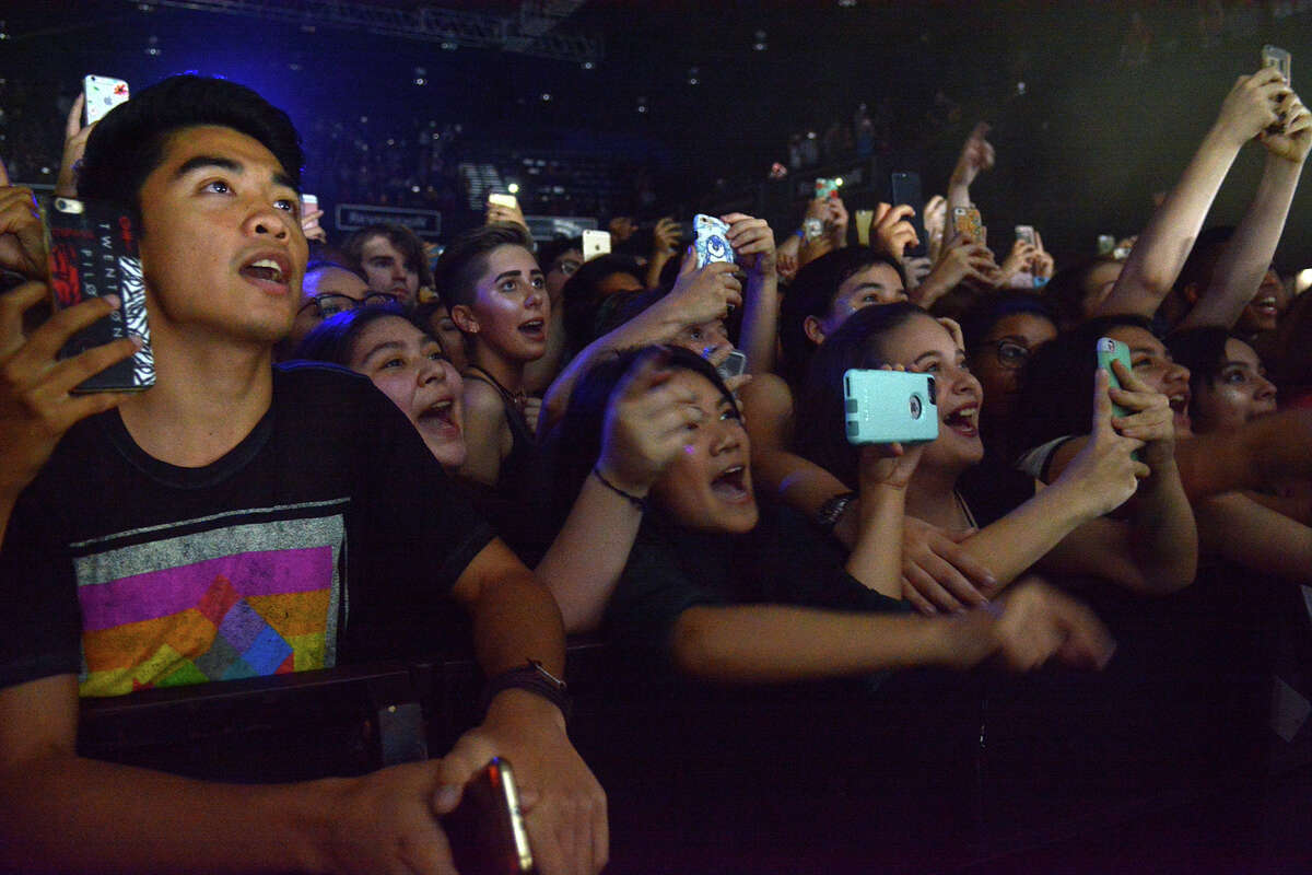 Fans of pop star Troye Sivan fill the Revention Music Center on Monday night.