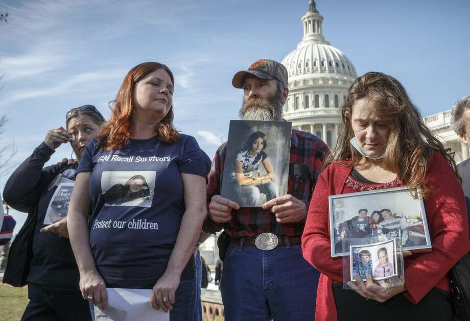 Kim Langley, far left, mother of Richard Scott Bailey, a U.S. Marine who died driving a 2007 Chevy Cobalt, Laura Christian, center left, of Harwood, Md., birth mother of Amber Marie Rose, the first reported victim of the GM safety defect, Randal Rademaker, center, father of Amy Rademaker of St. Croix County, Wis., who died when her Chevy Cobalt crashed and her air bags did not deploy, and Shannon Wooten of Adams, Tenn., whose son son Joshua died a 2009 crash driving their 2006 Chevy Cobalt, gather at the Capitol for a news conference in Washington, Tuesday, April 1, 2014. The House Energy and Commerce Subcommittee on Oversight and Investigations will look for answers today from GM CEO Mary Barra about a faulty ignition switch and mishandled recall of 2.6 million cars that�s been linked to 13 deaths and dozens of crashes. (AP Photo/J. Scott Applewhite)
