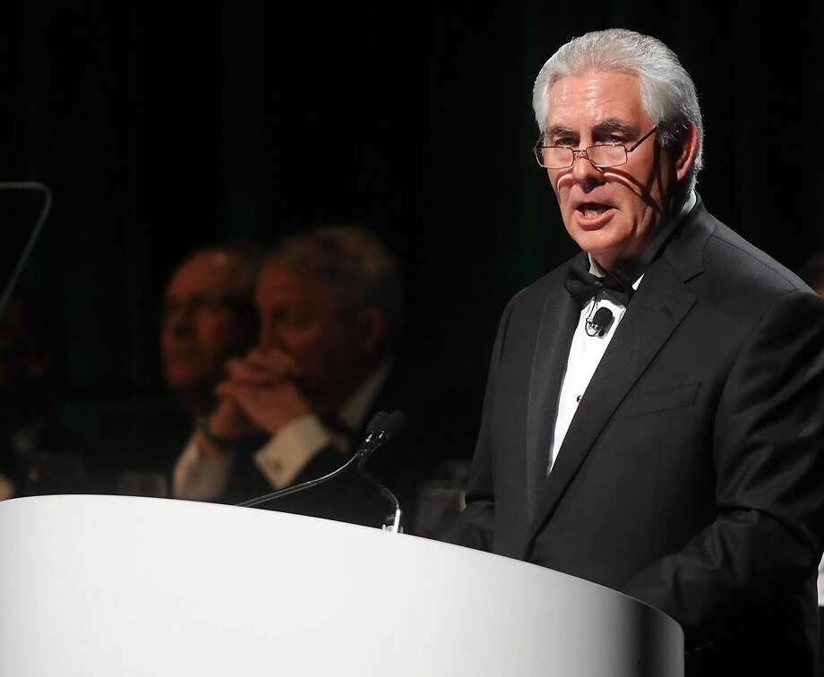 ExxonMobil CEO Rex Tillerson speaks after receiving the Green Cross for Safety medal from the National Safety Council during the group's annual dinner at the Hilton Americas Hotel Tuesday April 2, 2013.(Dave Rossman for the Houston Chronicle)