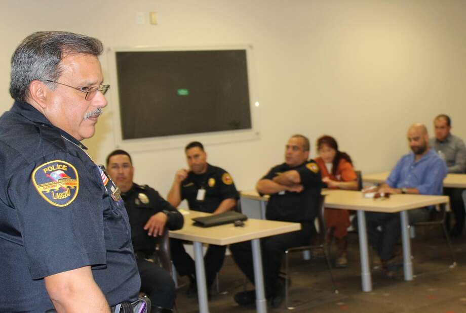 Officer Abraham H. Diaz Jr. addresses a group of first responders at the last planning meeting for the upcoming educational event, Shattered Dreams, which targets teens and reminds them about the dangers of drinking and driving. This year's event will be held at United High School on April 10 and 11. The project involves a simulation of an alcohol-related crash at the campus, complete with police and EMS response, emergency room treatment, family notifications and the arrest and booking of the driver. (Courtesy photo)