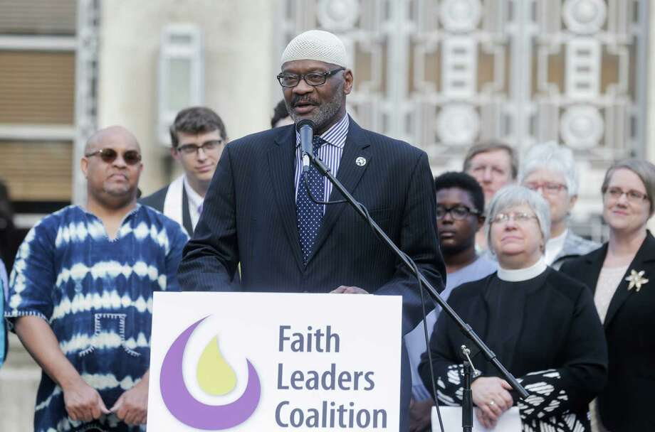 Mustafa Carroll, a member of the Faith Leaders Coalition of Greater Houston, said Monday that the current political climate resembles the pre-civil rights era. Photo: Elizabeth Conley, Staff / © 2016 Houston Chronicle