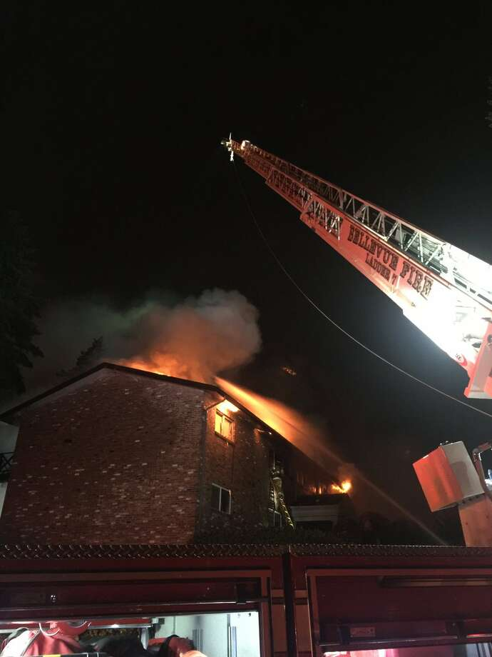 Bellevue firefighters were searching a burning condominium building for survivors Monday night. Photo: Bellevue Fire Department Photo