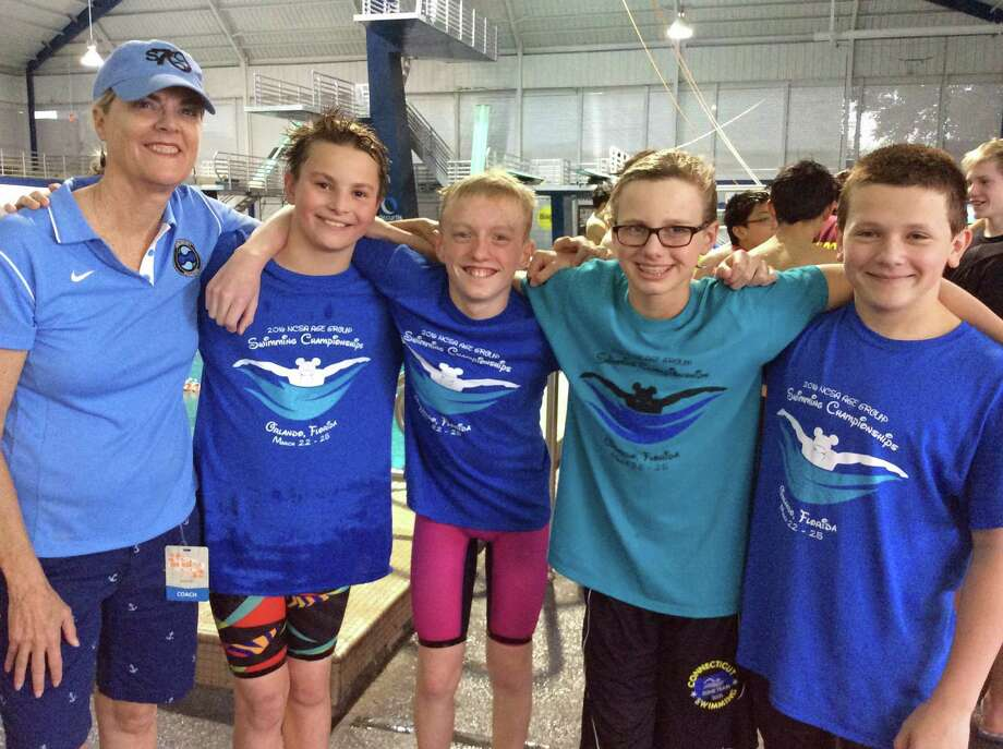 Contributed Photo: Photo / Head Age Group Coach Betsy Matheney, Rian Herrmann, Michael Cowenhoven, Emmett Adams And Sean Rogers