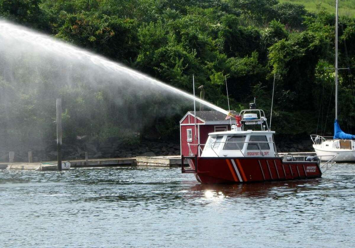 The Bridgeport Fire Department took delivery Tuesday August 19, 2008 of its new $300,000 fireboat, which will be berthed for the time being at Captain's Cove in Black Rock harbor. Purchased with a grant from the Department of Homeland Security, it's capable of dicharging 1,450 gallons per minute onto a burning boat or shoreside structure. Thethe city's first-ever fireboat.