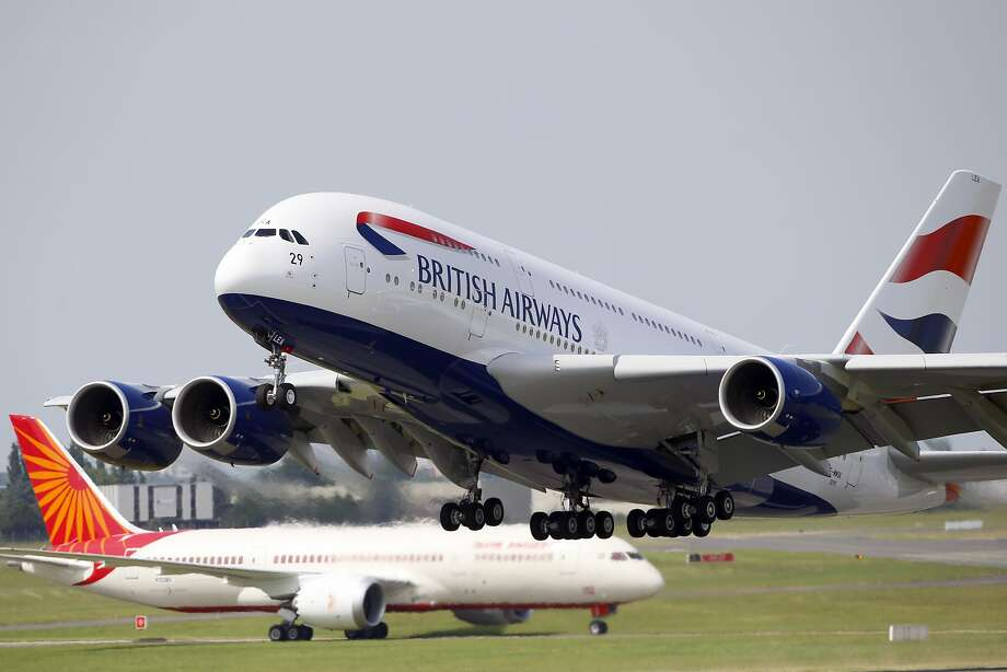 This June 17, 2013 shows a British Airways Airbus A380 aircraft at the 50th Paris Air Show at Le Bourget airport, north of Paris. On Monday night, another British Airways A380 jet with 425 people aboard made an emergency landing to Vancouver, Canada, when the 25-member flight crew suddenly became ill. Photo: Francois Mori, Associated Press