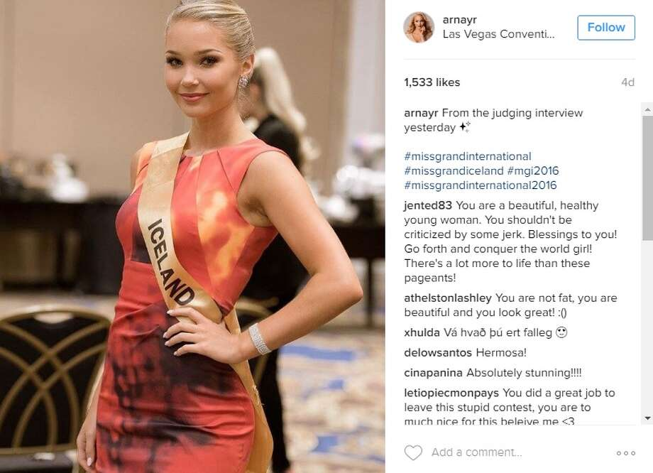 Current Miss Iceland Arna Ýr Jónsdóttir, 20, was slated to compete in Miss Grand International happening on Oct. 25 in Las Vegas. Instead of prepping for the finale, she's heading home after comments were made about her weight, she shared on social media outlets. Photo: Instagram.com/arnayr