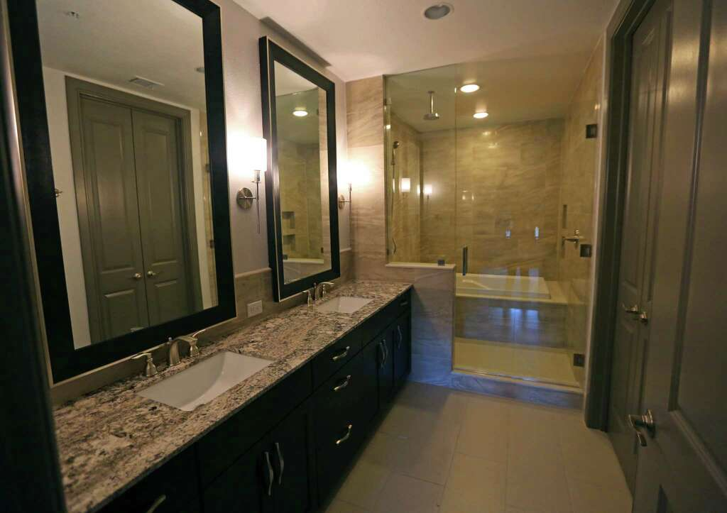 The master bathroom in one of the two-story townhouse units in The Carter,