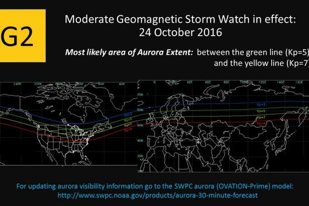 Where you can see the increased aurora activity from the G2 (Moderate) geomagnetic storm expected to last into Wednesday.