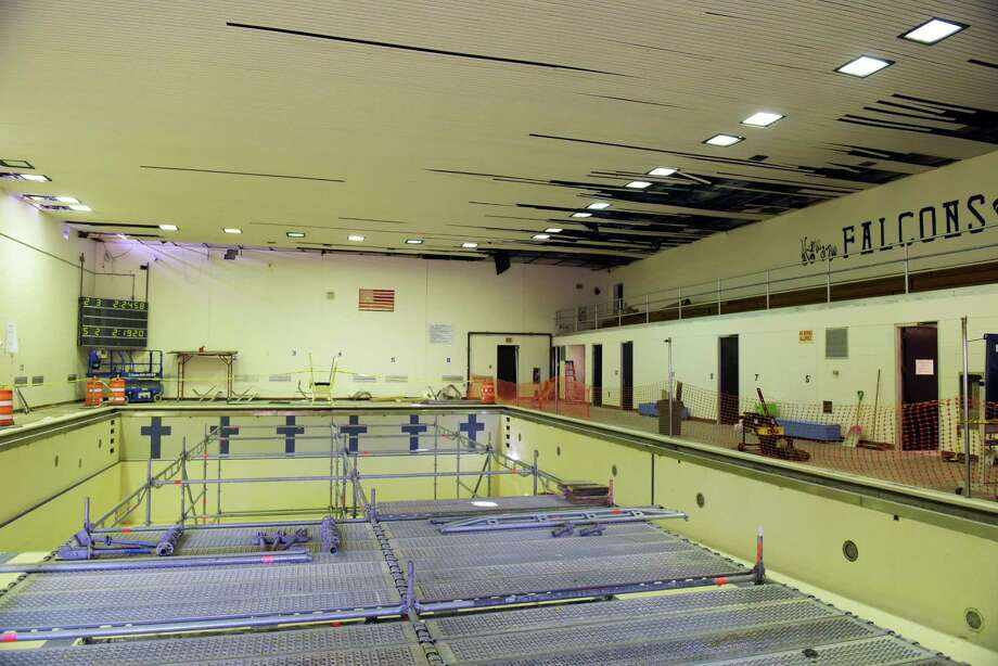 A view of the current pool in need of renovation, seen here at a groundbreaking ceremony for Albany High SchoolOs pool building on Tuesday, Oct. 25, 2016, in Albany, N.Y.  The  pool has been out of service since March 2015, and so the swim team has been practicing and competing in other area pools.   (Paul Buckowski / Times Union) Photo: PAUL BUCKOWSKI / 20038522A