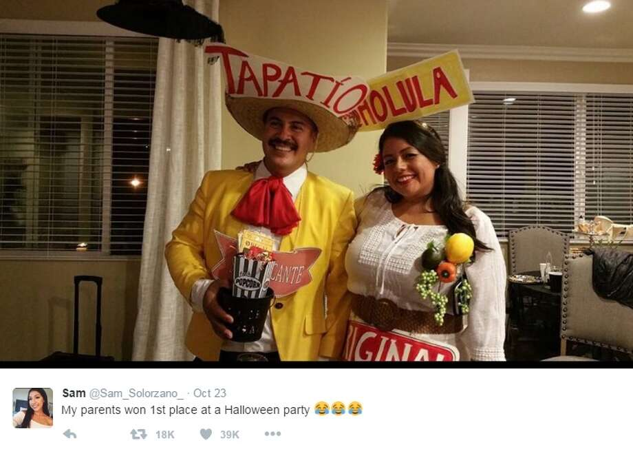 twitter user sam_solorzano_ shared photos of her parents dressed as tapatio and cholula for a