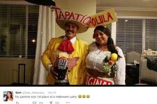 Twitter user @Sam_Solorzano_ shared photos of her parents dressed as Tapatio and Cholula for a Halloween party.