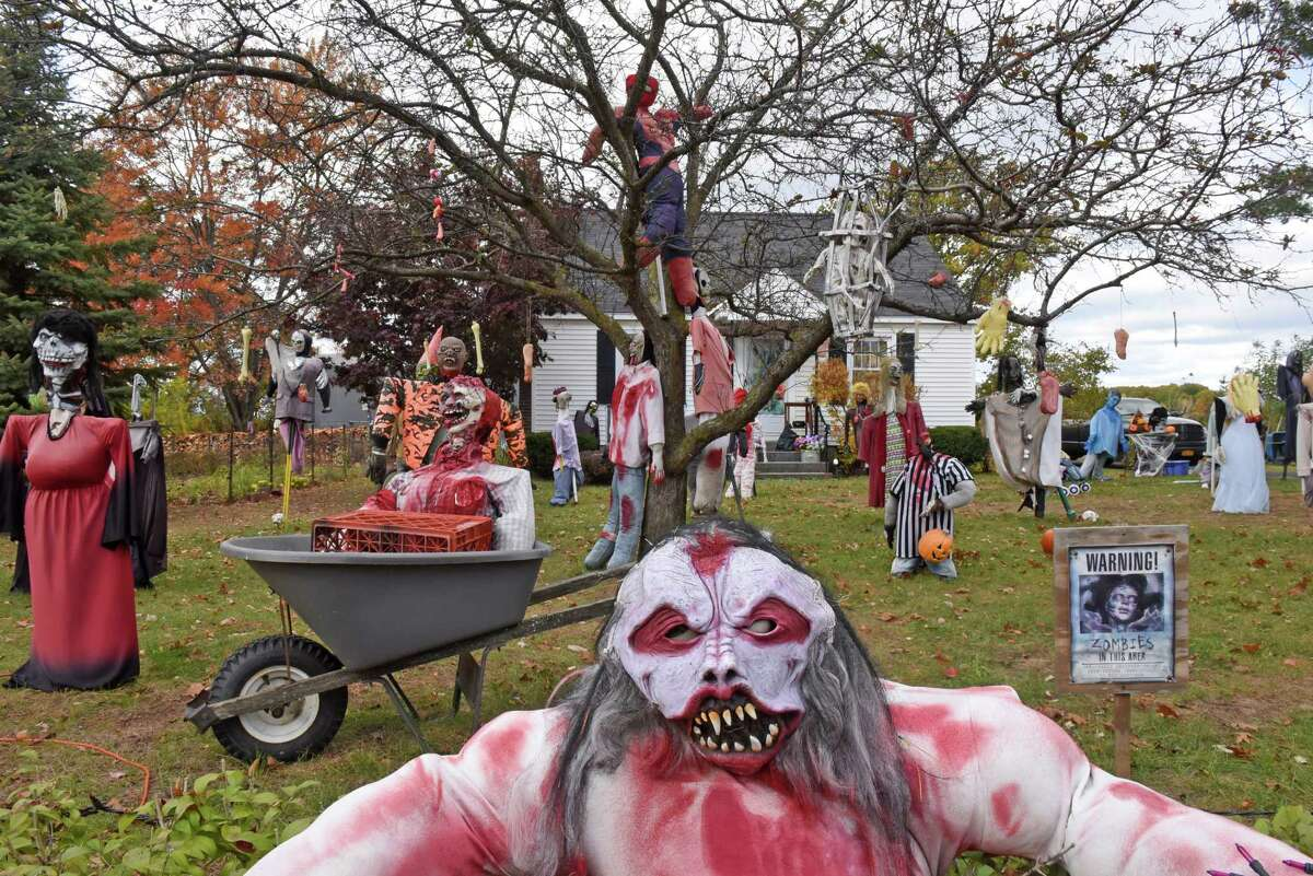 Colonie chased zombies for sale. This fall, the town of Colonie was troubled by an invasion of zombies. Peter Gallachi's girlfriend, Susan Caswell, owned 80 zombie figures she made over the years. She covered the lawn with zombies and put up three signs advertising them for sale. That upset the town, which told them they were violating the same ordinance that bans people from setting up used-car lots on their front lawns.